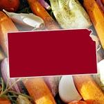 Kansas state outline over fresh vegetables